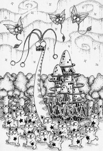 Pen drawing,Ink drawing,Pen sketch,Ink sketch,Pen and Ink,Monochrome,Sepia,Fairy,Fairy Forest,Snail,Castle,Woods,Forest,Tree,Cute fairy,Fairy country,Fairy world