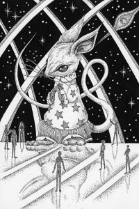 Pen drawing,Ink drawing,Pen sketch,Ink sketch,Pen and Ink,Monochrome,Sepia,Mouse,Space,Starry sky,Outer space,Alien,Space Station,Extraterrestrial,Hetero,People,Science fiction