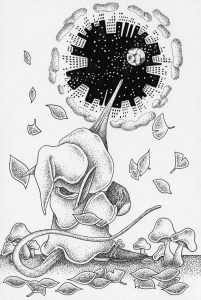 Pen drawing,Ink drawing,Pen sketch,Ink sketch,Pen and Ink,Monochrome,Sepia,Mouse,Fantasy,Fairy tale,Fantasy land,Mushroom,Acorn,Nostalgia,Different dimension,Different space,Sky,Starry sky,City,Building,Leaf,Dead leaves