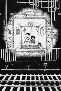Pen drawing,Ink drawing,Pen sketch,Ink sketch,Pen and Ink,Monochrome,Sepia,Tunnel,Railroad,Room,Family fellowship,Underground,Parent and child,Father daughter,House,Line,Subway,Piping,Fantasy,Mysterious space,Strange space,Fairy tale