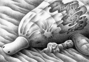 SF,Science fiction,Science fantasy,Imagination,Fantasy,Fantasy science,Pencil drawing,Colored pencil drawing,Analog illustration,Illustration,Art,Painting,Hand-drawn illustrations,Monster,Dune,Animal,UMA,Girl,Warrior,Companion,Desert,Sand dunes,Different world,Sleep,Death,Comrade in arms
