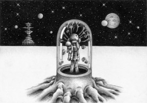 SF,Science fiction,Science fantasy,Imagination,Fantasy,Fantasy science,Pencil drawing,Colored pencil drawing,Analog illustration,Illustration,Art,Painting,Hand drawn illustrations,Capsule,Space,Outer space,Starry sky,Planet,Satellite,Plain,Stem,Robot,Android,Cyborg,Humanoid,Girl,Remote area,Different world,Outer space