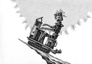 SF,Science fiction,Science fantasy,Imagination,Fantasy,Fantasy science,Pencil drawing,Colored pencil drawing,Analog illustration,Illustration,Art,Painting,Hand drawn illustrations,Robot,Artificial intelligence,Performer,Pianist,Organist,Cliff,Cloud,Cloud cover,Blue sky,Performance,Artist