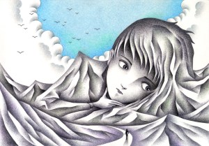 SF,Science fiction,Science fantasy,Imagination,Fantasy,Fantasy science,Pencil drawing,Colored pencil drawing,Analog illustration,Illustration,Art,Painting,Hand drawn illustrations,Mountain,Alpine,Mountain range,Man,Thinker,Giant,Huge,Cloud,Blue sky,Assimilation,Mineralization,Stone statue
