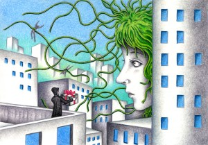 SF,Science fiction,Science fantasy,Imagination,Fantasy,Fantasy science,Pencil drawing,Colored pencil drawing,Analog illustration,Illustration,Art,Painting,Hand drawn illustrations,Medusa,Monster,Female,Giant,Huge,City,Building,Invasion,Raid,Courtship,Propose,Male,Bouquet