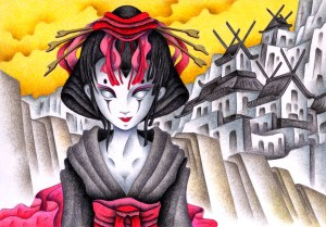 SF,Science fiction,Science fantasy,Imagination,Fantasy,Fantasy science,Pencil drawing,Colored pencil drawing,Analog illustration,Illustration,Art,Painting,Hand drawn illustrations,Courtesan,Geisha,Japanese clothes,Robot,Android,Cyborg,Artificial intelligence,Maiko,Japan,Oriental,Castle,Kimono