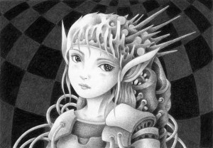 SF,Science fiction,Science fantasy,Imagination,Fantasy,Fantasy science,Pencil drawing,Colored pencil drawing,Analog illustration,Illustration,Art,Painting,Hand drawn illustrations,Alien,Space Alien,Warrior,Soldier,Girl,Beautiful girl,Armed,Futurist