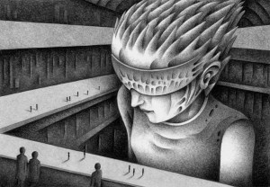 SF,Science fiction,Science fantasy,Imagination,Fantasy,Fantasy science,Pencil drawing,Colored pencil drawing,Analog illustration,Illustration,Art,Painting,Hand drawn illustrations,Giant,Monster,Mutant,Robot,Cyborg,Hangar,Experimental area,Huge