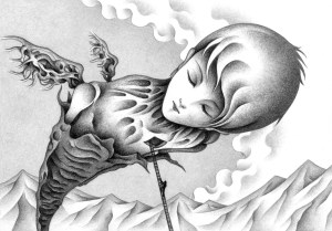 SF,Science fiction,Science fantasy,Imagination,Fantasy,Fantasy science,Pencil drawing,Colored pencil drawing,Analog illustration,Illustration,Art,Painting,Hand drawn illustrations,Pupa,Chrysalis,Male,Giant,Huge,Molting,Mountain range,Mountain,Cloud,Blue sky,Cloud cover,Awakening,Monster