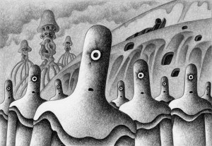 SF,Science fiction,Science fantasy,Imagination,Fantasy,Fantasy science,Pencil drawing,Colored pencil drawing,Analog illustration,Illustration,Art,Painting,Hand drawn illustrations,Alien,Space Alien,Invader,Invasion,Earth invasion,Monster,Spaceship,Robot,Cyborg,Heretic,Stranger