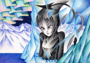 SF,Science fiction,Science fantasy,Imagination,Fantasy,Fantasy science,Pencil drawing,Colored pencil drawing,Analog illustration,Illustration,Art,Painting,Hand drawn illustrations,Ice,Glacier,Iceberg,Aurora,Polar region,Arctic,Antarctic,Demon,Monster,Giant,Frozen,Pickled in ice,Hibernation