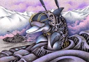 SF,Science fiction,Science fantasy,Imagination,Fantasy,Fantasy science,Pencil drawing,Colored pencil drawing,Analog illustration,Illustration,Art,Painting,Hand drawn illustrations,Tank,Armored car,Dolphin,Warrior,Soldier,Biological weapon,Battlefield,Future,Future War,Evolution,Armed,Future world