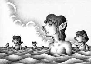 SF,Science fiction,Science fantasy,Imagination,Fantasy,Fantasy science,Pencil drawing,Colored pencil drawing,Analog illustration,Illustration,Art,Painting,Hand drawn illustrations,New species,Mutant,Genetic engineering,New mankind,Futurist,Monster,Variant,Extraterrestrial,Alien,Pig,Hybrid animal,Ocean,Lake,Cloud,Hybrid,Large move