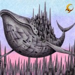 "Illustrations of ""Whale, Aerial city, Old castle, Spire, Huge building"""