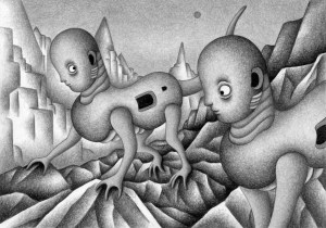 SF,Science fiction,Science fantasy,Imagination,Fantasy,Fantasy science,Pencil drawing,Colored pencil drawing,Analog illustration,Illustration,Art,Painting,Hand drawn illustrations,Animal,Unidentified creatures,Rocky field,Cliff,Neoplasm,Extraterrestrial,Strange place,Remote area,New species,Different world