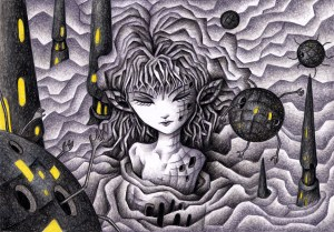 SF,Science fiction,Science fantasy,Imagination,Fantasy,Fantasy science,Pencil drawing,Colored pencil drawing,Analog illustration,Illustration,Art,Painting,Hand drawn illustrations,Girl,Magnetic field,Robot,Cyborg,Android,Different world,Alien world,Different dimension,Tower,Spire