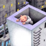 "Illustrations of ""Guardian, Pig, Watching tower, Future city"""