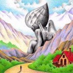 """Illustrations of """"Angel, Mountainous area, Giant, Forest, Road"""""""