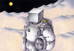 SF,Science fiction,Science fantasy,Imagination,Fantasy,Fantasy science,Pencil drawing,Colored pencil drawing,Analog illustration,Illustration,Art,Painting,Hand drawn illustrations,Astronaut,Spacesuit,Moon,Moon's world,Strange place,Remote area,Robot,Cyborg,Mystery,Mystery area