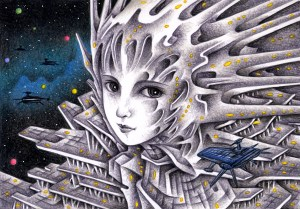 SF,Science fiction,Science fantasy,Imagination,Fantasy,Fantasy science,Pencil drawing,Colored pencil drawing,Analog illustration,Illustration,Art,Painting,Hand drawn illustrations,Space station,Airport,Giant,Robot,Artificial intelligence,Space,Outer space,Space Airport,Huge,Huge building