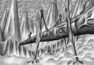 SF,Science fiction,Science fantasy,Imagination,Fantasy,Fantasy science,Pencil drawing,Colored pencil drawing,Analog illustration,Illustration,Art,Painting,Hand drawn illustrations,Ocean floor,Monster,Giant creatures,Ocean floor mountains,Sea,Biological weapon,Battle machines
