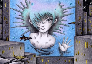 SF,Science fiction,Science fantasy,Imagination,Fantasy,Fantasy science,Pencil drawing,Colored pencil drawing,Analog illustration,Illustration,Art,Painting,Hand drawn illustrations,Female,Woman,Screen,3D screen,Stereoscreen,Future city,Future society,Future world,Building,Big city,Huge,Giant,Advertisement tower