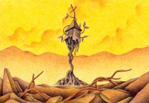 SF,Science fiction,Science fantasy,Imagination,Fantasy,Fantasy science,Pencil drawing,Colored pencil drawing,Analog illustration,Illustration,Art,Painting,Hand drawn illustrations,Ruins,Rubble,End,Destruction,Burned land,Nobody,Destruction,Extinction,The last day,Mountain range,House,Atmosphere