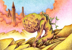 SF,Science fiction,Science fantasy,Imagination,Fantasy,Fantasy science,Pencil drawing,Colored pencil drawing,Analog illustration,Illustration,Art,Painting,Hand drawn illustrations,Mutation,Mutant,Rubble,Ruins,City,Monster,Neoplasm,New mankind,Planting,Hybrid species,New species,New world,Future world