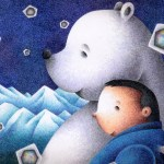 "Illustrations of ""White bear, Polar bear, Crystal of snow, Good friend"""