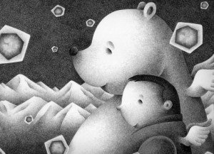 Imagination,Fantasy,Fairy tale,Fantastic,Strange,Fantasia,Pencil drawing,Colored pencil drawing,Analog illustration,Illustration,Art,Painting,Hand drawn illustrations,White bear,Polar bear,Snow,Crystal of snow,Snowfall,Iceberg,Male,Man,Person,Friend,Good friend,Night,Late night,Midnight,Arctic,Antarctic