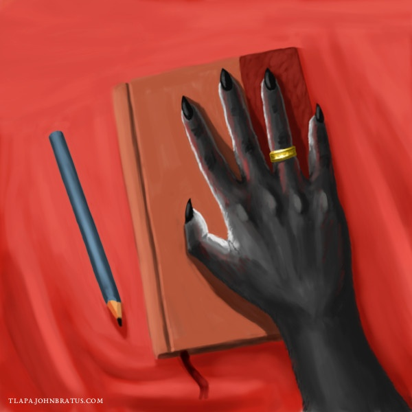 Digital painting of an anthropomorphic vixen's hand resting on a leather bound diary
