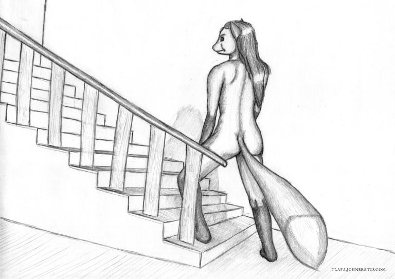 Pencil drawing of a naked furry vixen posing on stairs