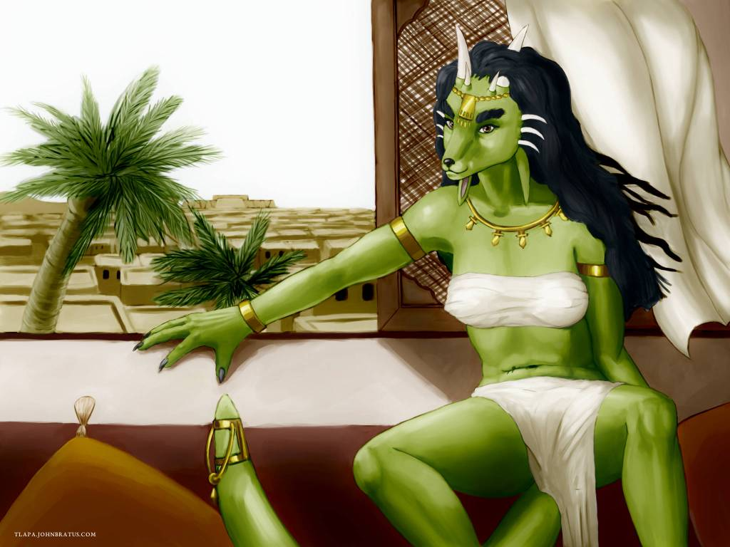 Digital painting of a lynx morph Kaliendra relaxing and overlooking her desert kingdom of Abun