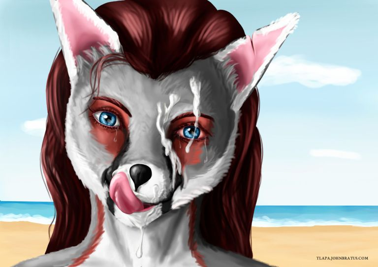 Digital painting of a furry vixen licking her lips after receiving a facial cumshot