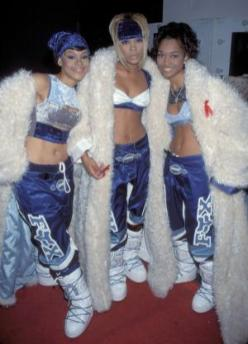 """TLC photographed during the American Music Awards. Lisa """"Left Eye"""" Lopes was killed in a car crash in the Honduras April 25, 2002. (Photo by KMazur/WireImage)"""