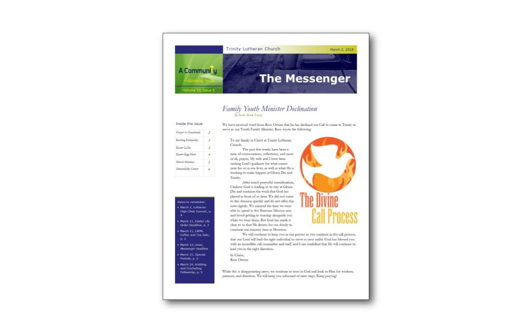 March 2 Trinity Messenger