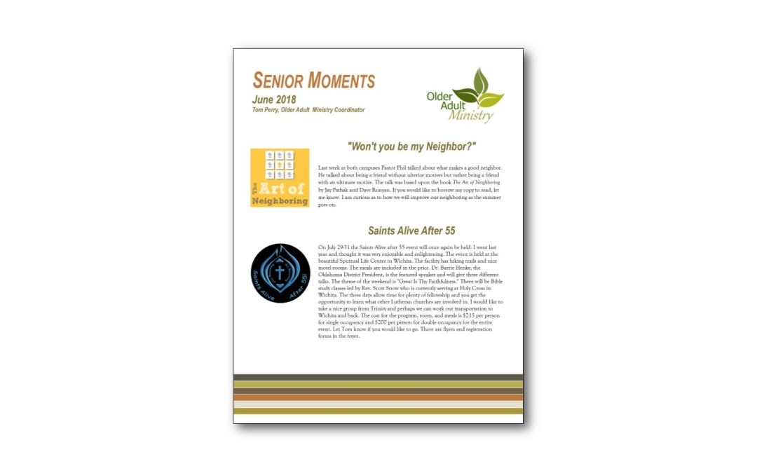 June 2018 Senior Moments Newsletter