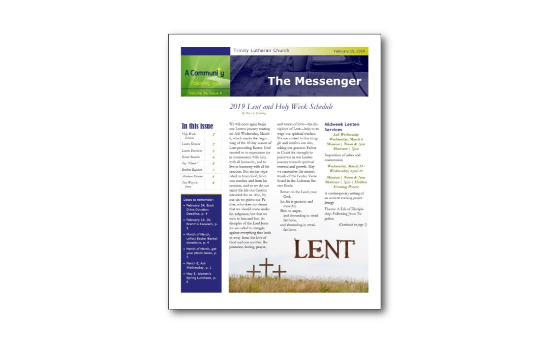 February 15 Trinity Messenger