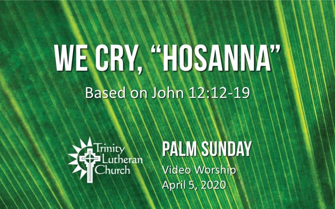 Palm Sunday Worship – April 5
