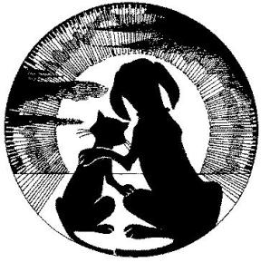 Hospital Logo: cat and dog watching full moon rise.