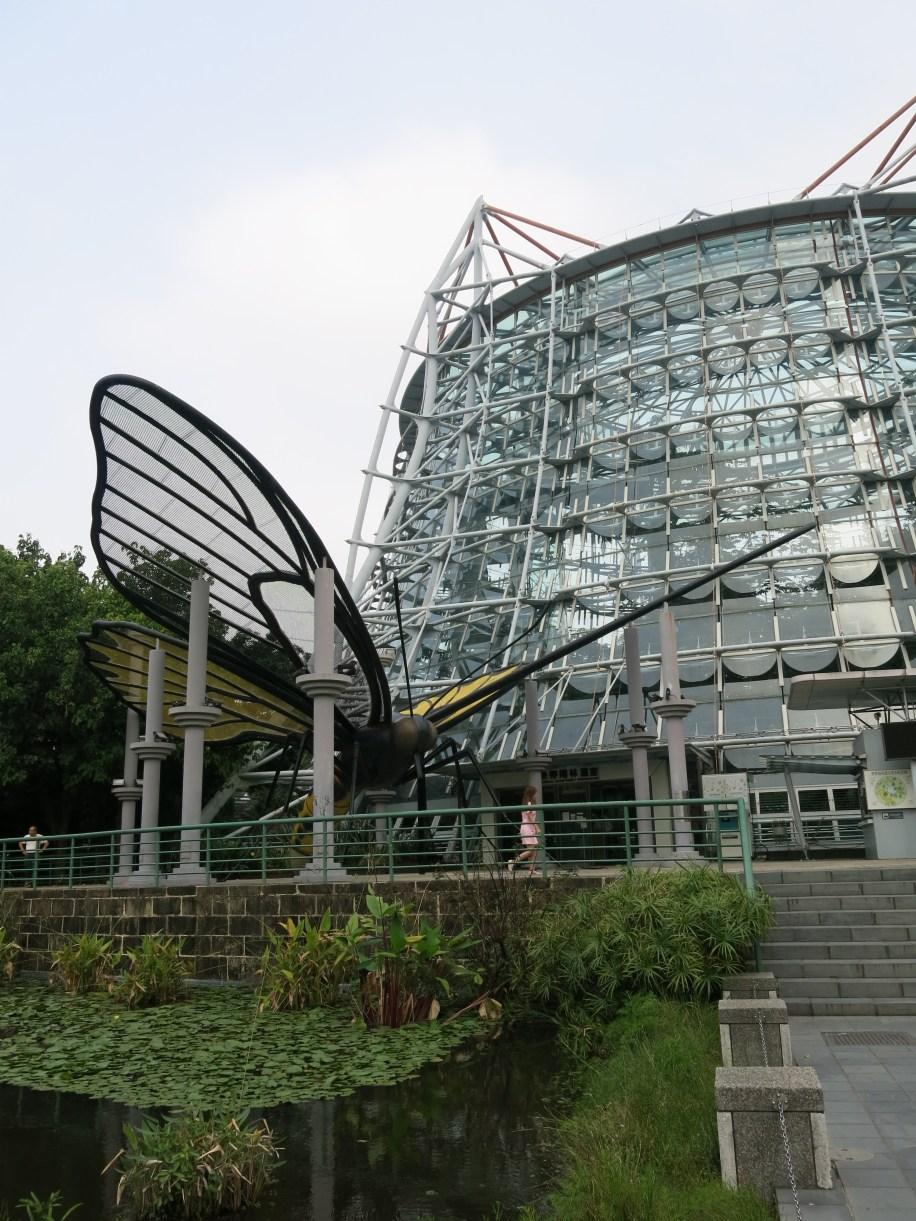Butterfly sculpture outside the botanical garden building.