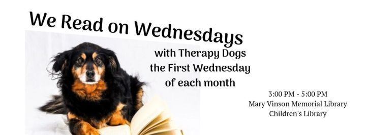 We Read on Wednesdays with Therapy Dogs | Image of Dog Reading a Book