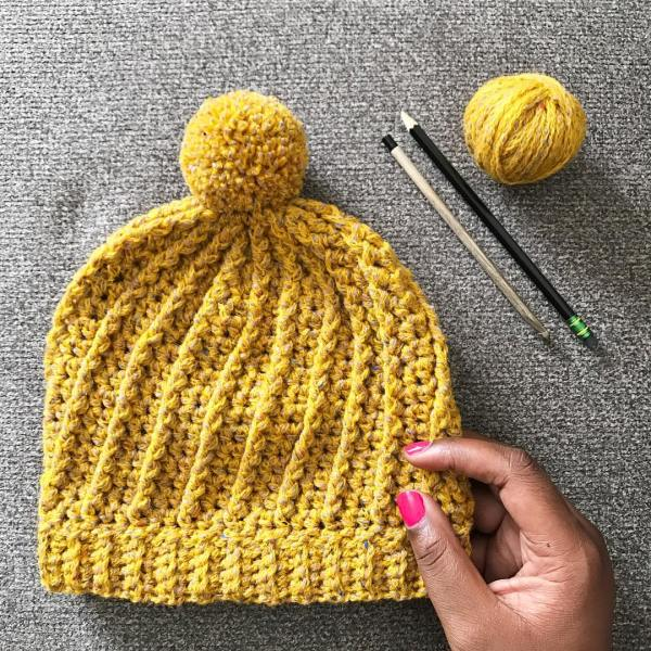 Park City Beanie Pom Pom hat tl yarn crafts design yellow hat instagram