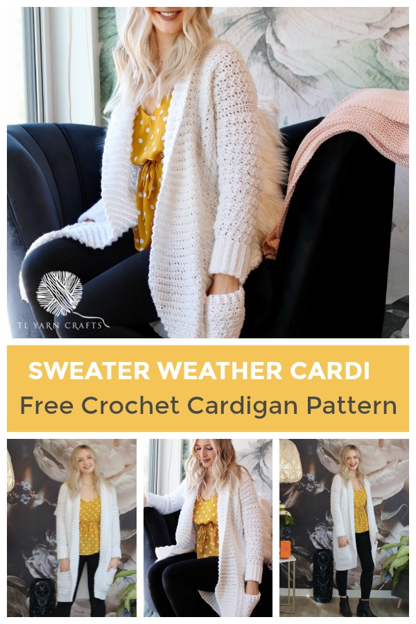 The Sweater Weather Cardi, a FREE pattern from TLYCBlog in collaboration with JOANN Stores, is the first cardigan you'll reach for all winter! Made with comfortable worsted weight yarn in your favorite color, this casual layering sweater is chic, modern, and casual at the same time. Wear it to the office, school dropoff, or those late night Target runs - it's perfect for any occasion! -- The Sweater Weather Cardi is a FREE crochet pattern featuring step by step instructions and is available in sizes small up to extra large. Start now by visiting TLYCBlog.com! Photo Credit: @knitsnknotswpg on Instagram | TLYCBlog.com