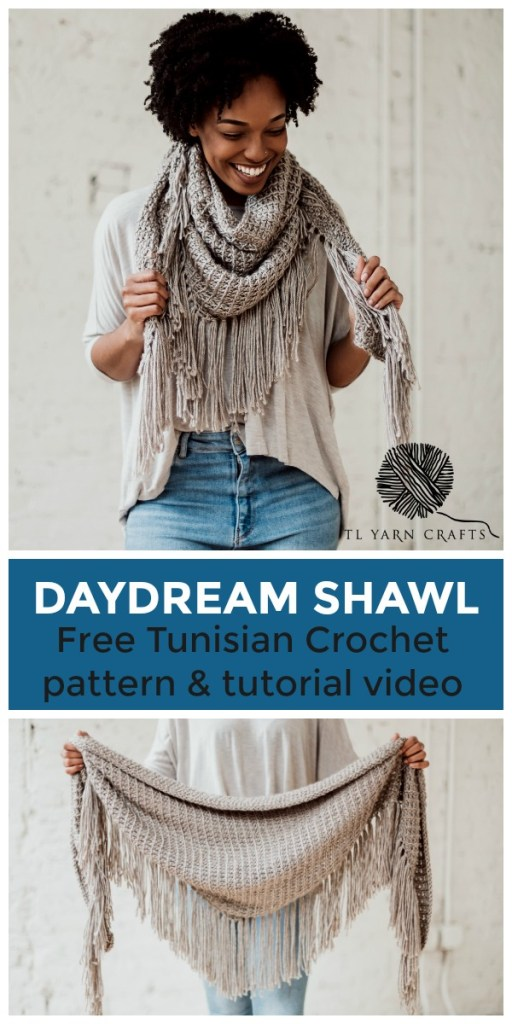 Make the Daydream Shawl, a beginner friendly Tunisian crochet boho triangle scarf. Pattern includes a helpful tutorial video! | FREE Tunisian Crochet Boho Fringe Wrap Pattern from TLYCBlog and JOANN.
