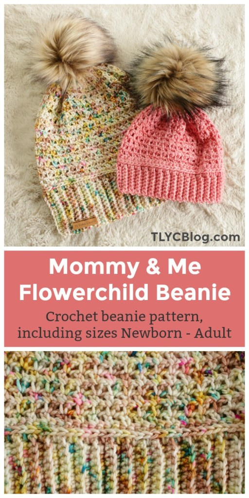 Try the new Flower Child Beanie, a lightweight crochet hat sized for the whole family! This beginner-friendly pattern comes in 6 sizes - Newborn, 3-6 months, 6-12 months, Toddler, Child, and Adult. This is the perfect project for Mommy and Me sets, or make one for the whole family! It uses just a small amount of worsted weight yarn and looks adorable with a faux fur pom pom. | Learn more and get the pattern from TLYCBlog.com!