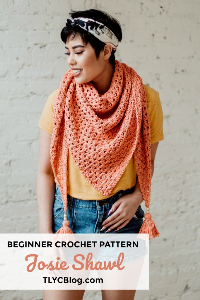 The Josie Shawl | Crochet PDF pattern for a beginner-friendly triangle shawl with beaded tassels. Perfect for crocheters of every experience level, this is a great mindful and quick project. Make plenty for your craft show booth or even for holiday gifts. | TLYCBlog.com #crochetshawl #beginnercrochetpattern #triangleshawlpattern
