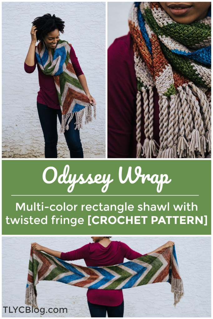 The Odyssey Wrap | Lose yourself in row upon row of chevron linen stitches when you make the Odyssey Wrap, an easy, beginner friendly rectangular crochet shawl pattern. Pick your favorite colors for bold striping and finish it off with twisted fringe. This extra large vintage inspired stole will keep you cozy all fall and winter. Find the pattern on LoveCrafts.com. | TLYCBlog.com