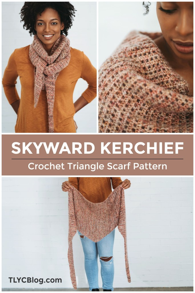 Skyward Kerchief, crochet pattern | Crochet triangle scarf beginner-friendly pattern. Using mohair silk yarn with merino wool. Easy stash buster one skein fingering weight yarn with lace weight mohair held double. Great for last-minute gifts, Christmas presents, quick crochet project. Stash buster for pretty yarn. One skein crochet project. | TLYCBlog.com