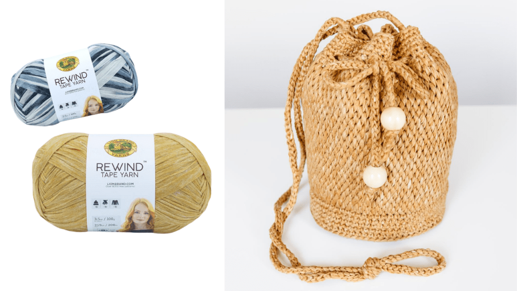 Harper Bucket Bag | Tunisian crochet summer raffia look bag made with Lion Brand Rewind Tape Yarn free crochet pattern with video tutorial and helpful photos.
